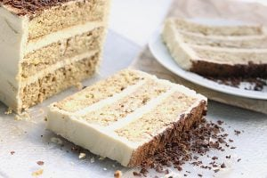 Creamy mascarpone frosting and layers of coffee soaked cake make up this delicious low carb tiramisu layer cake.