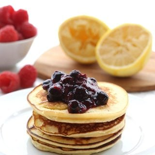 Grain free low carb Lemon Ricotta Blender Pancakes