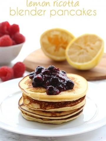 Grain free low carb Lemon Ricotta Blender Pancakes