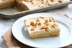 Low carb keto peanut butter sheet cake. This cake will impress all of your friends and family.