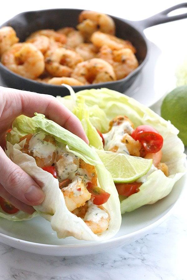 Paleo low carb Thai Shrimp Lettuce Wraps