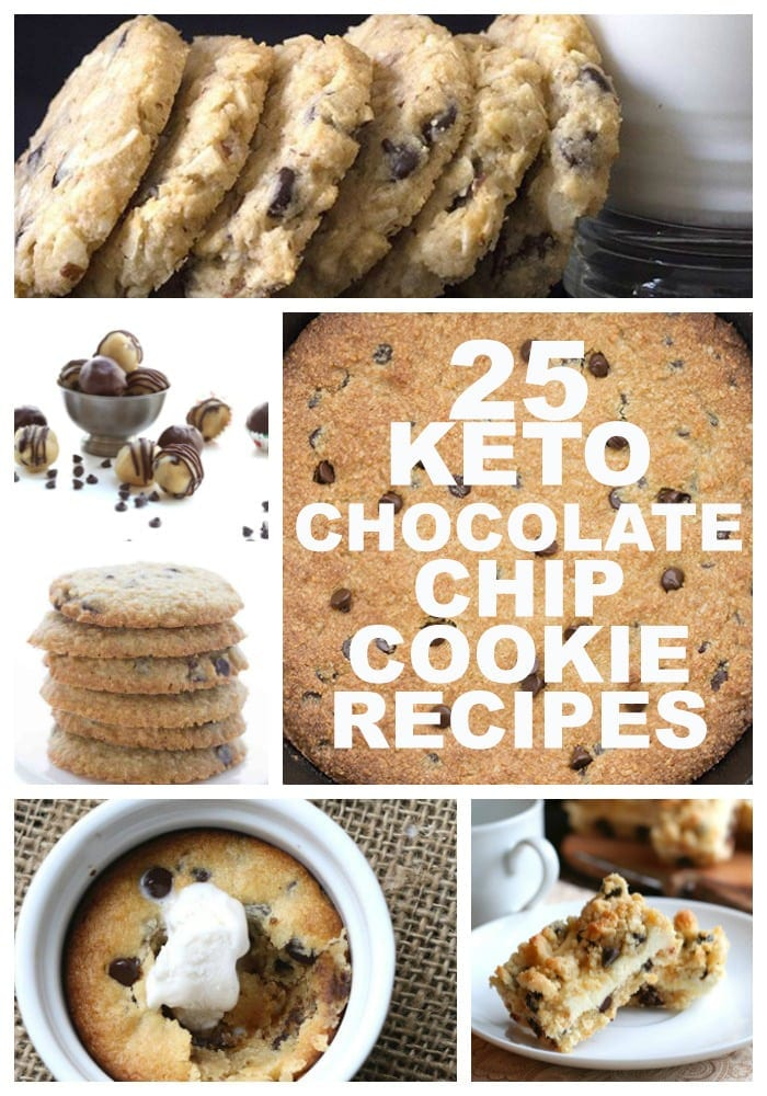 A collage of the best keto chocolate chip cookie recipes