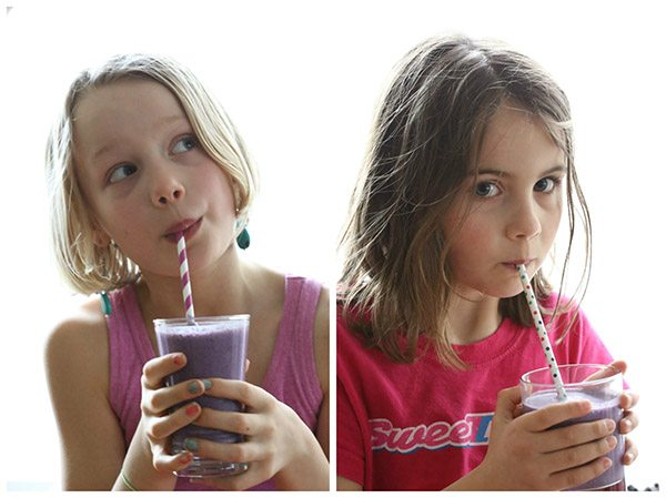 Low carb kids! Enjoying healthy blueberry coconut chia seed smoothies.