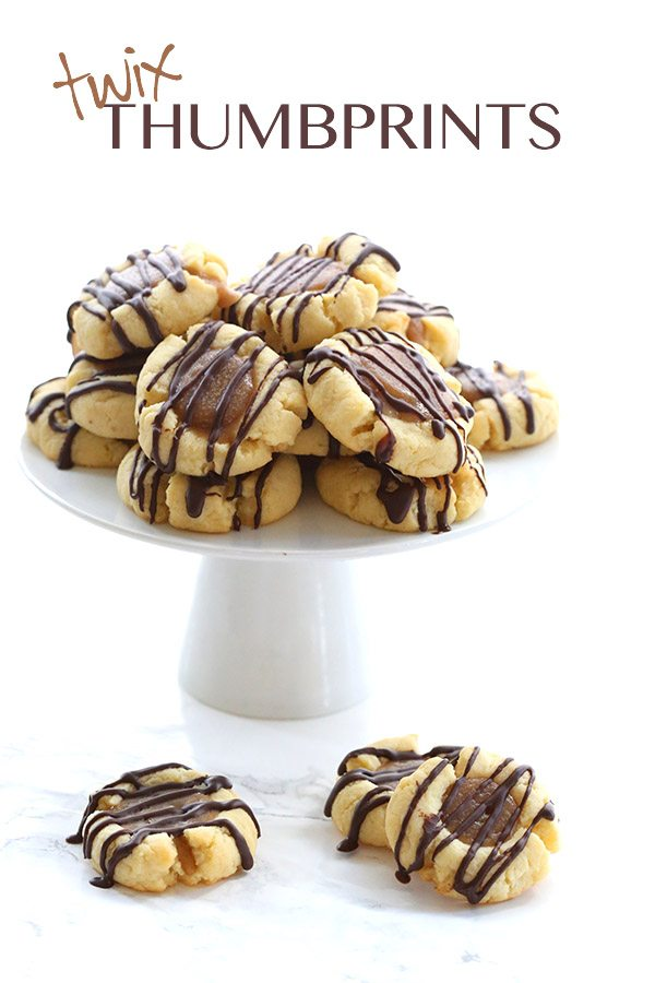 Low Carb Twix Thumbprint Cookies