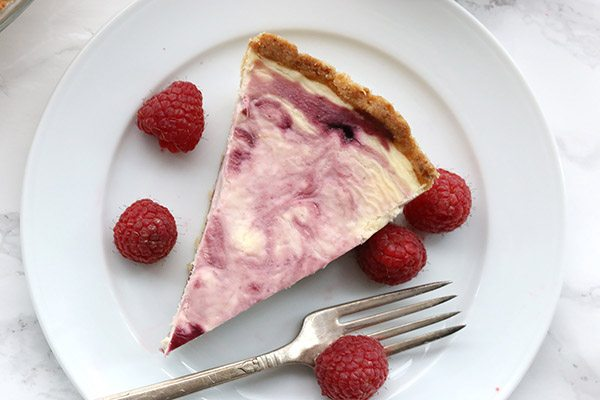 Low Carb Grain-Free White Chocolate Raspberry Swirl Cheesecake Recipe