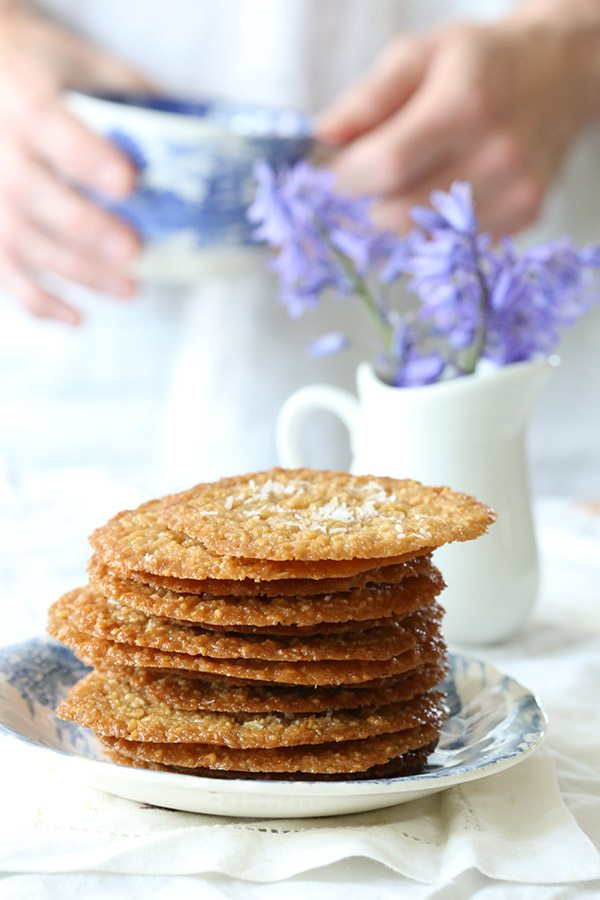 Deliciously thin caramel coconut crisps. Low carb, keto, grain-free