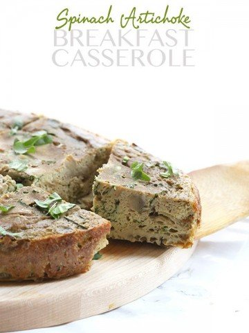 Low Carb Slow Cooker Spinach Artichoke Breakfast Casserole - meatless and can be dairy-free too.