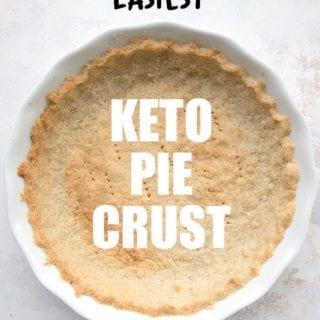Easy keto pie crust in a white ceramic pie plate.