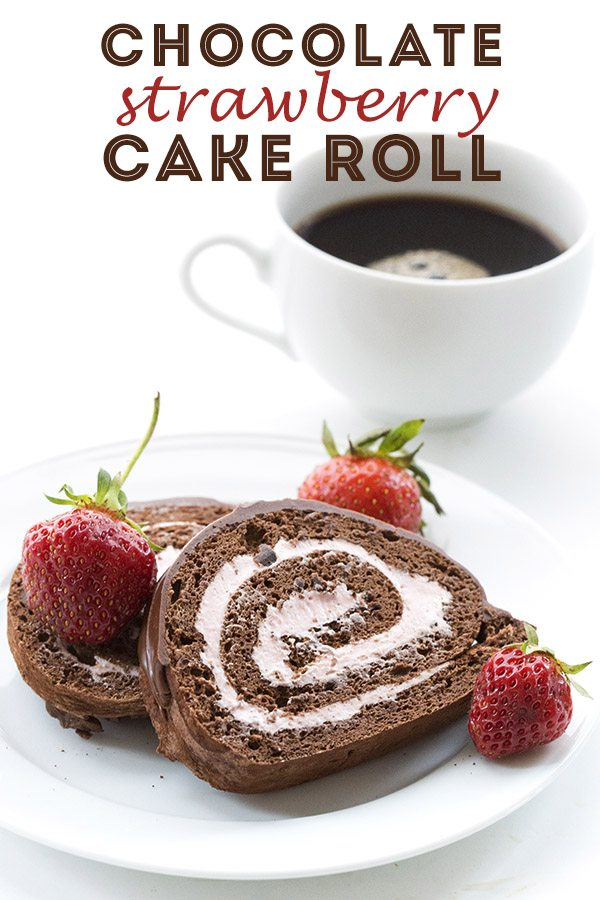 Low Carb Keto Chocolate Cake Roll with Strawberry Cheesecake Filling