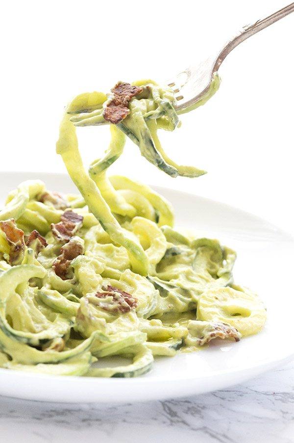 Paleo Low Carb Zucchini Noodles with Avocado and Bacon