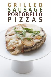 Easy low carb grilled sausage mushroom pizzas.