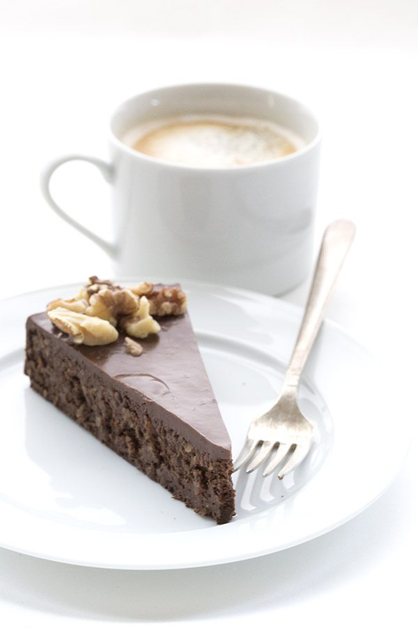 Rich dense chocolate walnut torte. A healthy low carb dessert recipe!