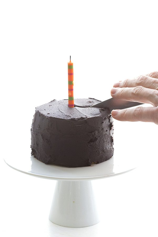 Happy Birthday to you and you. Low carb yellow cake with dark chocolate frosting, just for two!