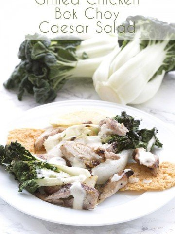 Low Carb Grilled Baby Bok Choy and Chicken Caesar Salad