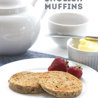 Low Carb Instant English Muffin Recipe, whips up in seconds. Nut-free, can be dairy-free and paleo.