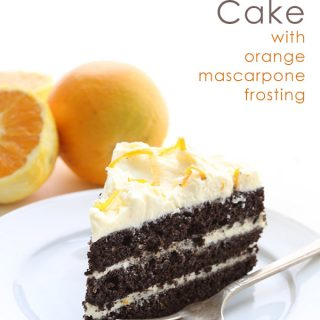 Dark Chocolate Layer Cake with Orange Mascarpone Frosting