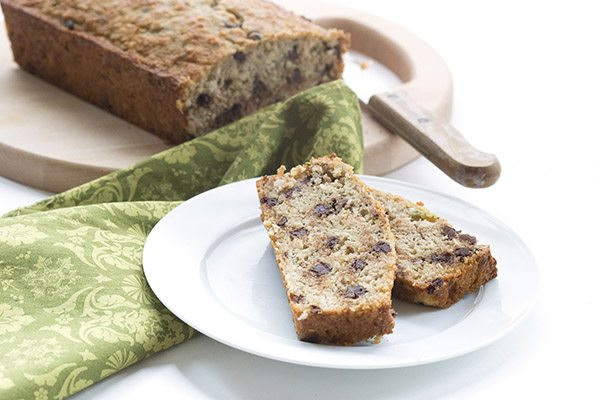 Delicious low carb grain-free zucchini bread with chocolate chips. Sugar-free THM LCHF