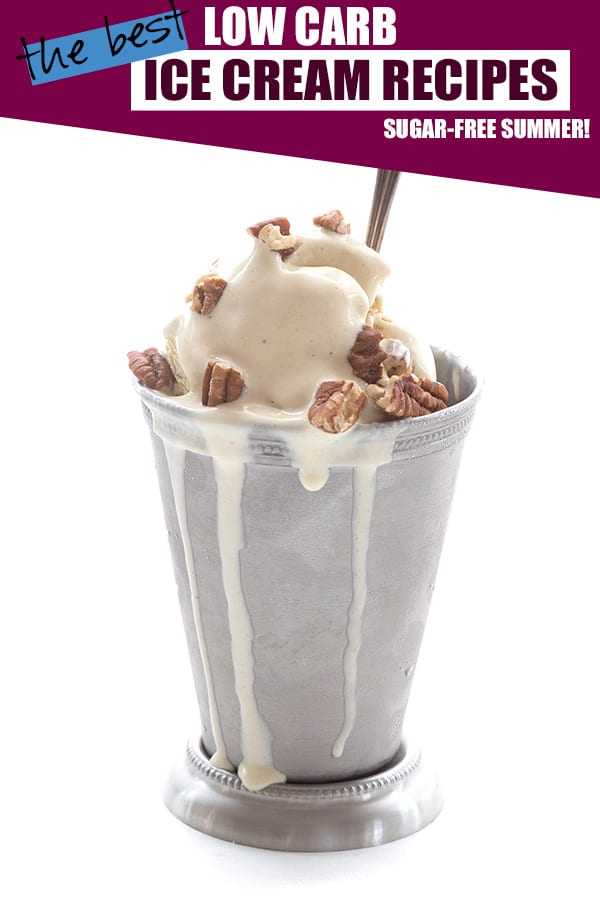 Sugar-free ice cream in a metal cup with pecans