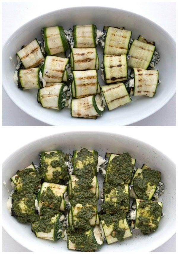 Easy low carb zucchini lasagna rolls. LCHF THM Banting Atkins recipe