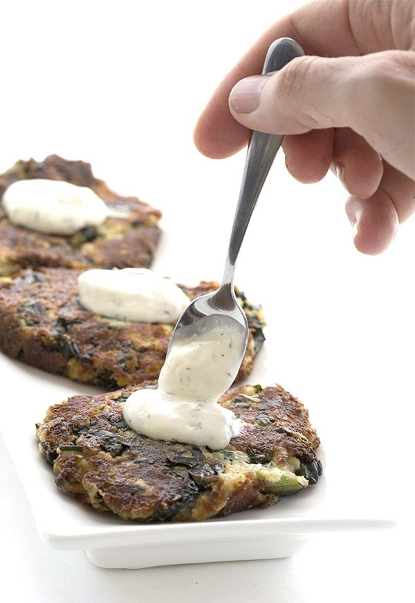 Easy cheesy kale and cauliflower fritters. Low carb and grain-free