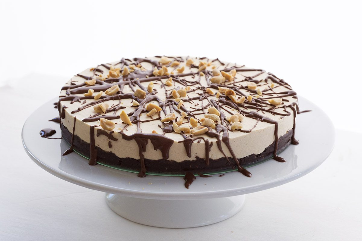 Low Carb Keto Peanut Butter Ice Cream Cake. With a delicious no-bake brownie crust!
