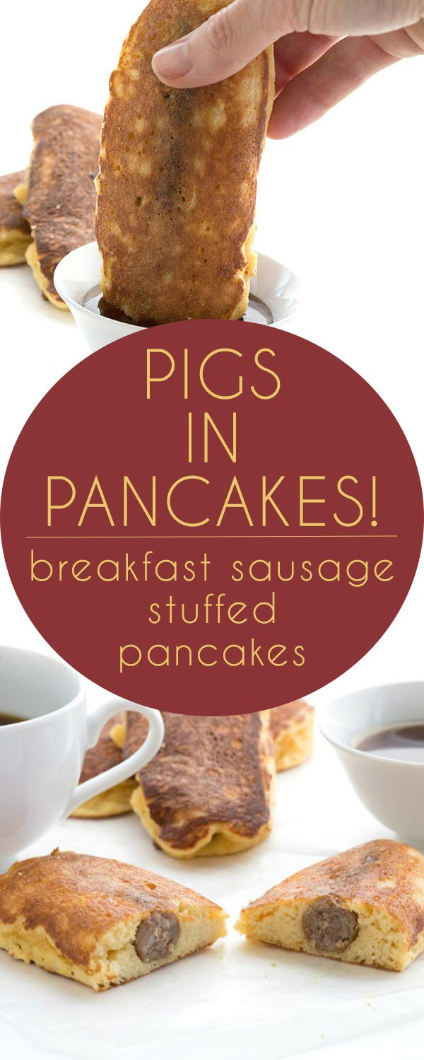 Low Carb Breakfast Pigs in A Blanket. Breakfast sausage stuffed grain-free pancakes. THM and Paleo-friendly.