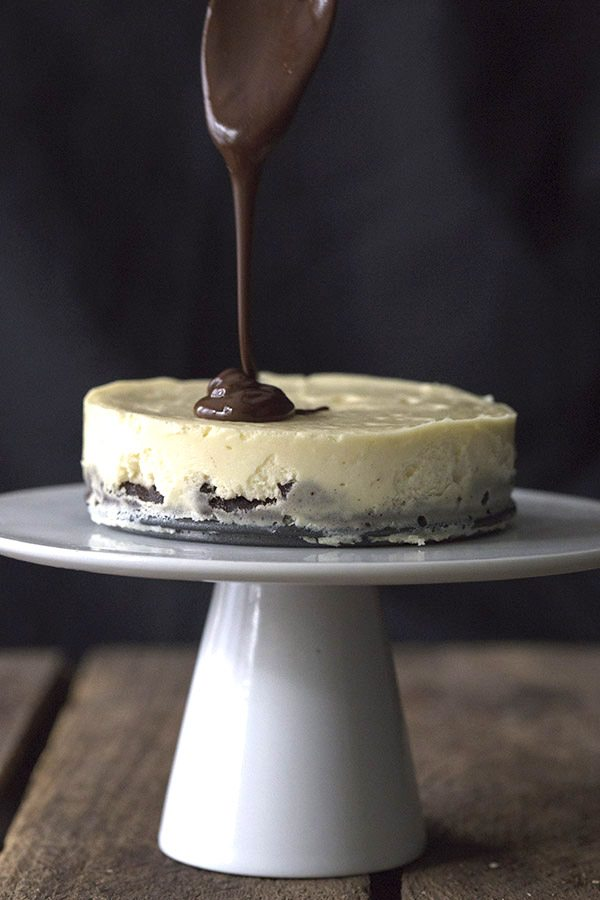 Sugar-free chocolate ganache over low carb brownie cheesecake.