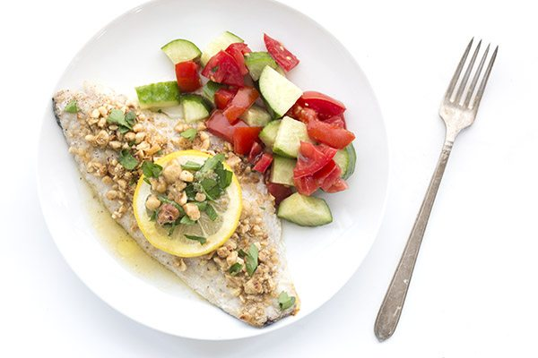 Easy keto meal ready in under 30 minutes. Hazelnut crusted sea bass.