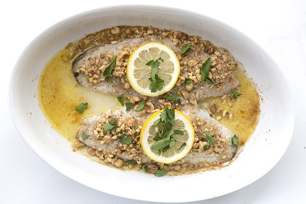 Low Carb Keto Hazelnut Crusted Sea Bass Recipe