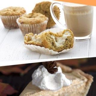 Collage of keto pumpkin recipes featuring pumpkin pie and pumpkin muffins