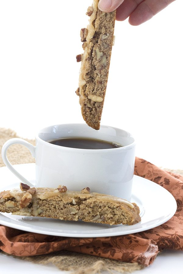 Dip this delicious low carb pecan pie biscotti in your coffee. A great Keto treat!
