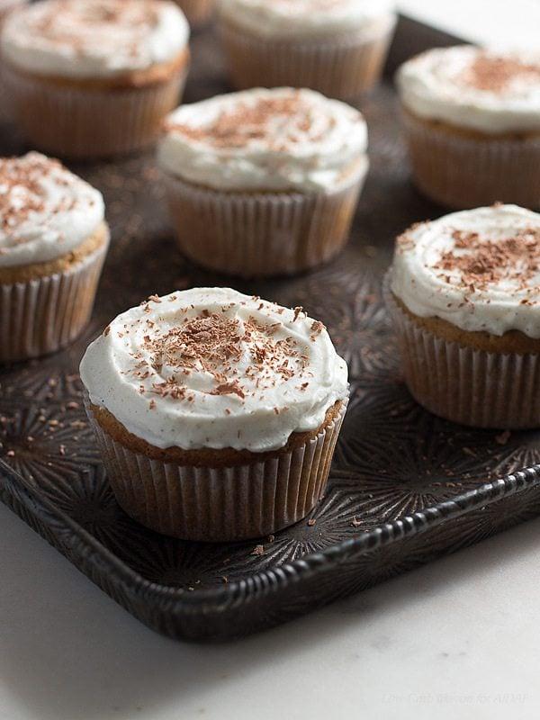 Low Carb Vanilla Latte Cupcake Recipe. LCHF Banting THM Keto.