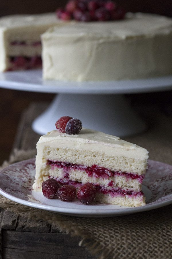 A gorgeous low carb holiday dessert. White Chocolate Cranberry Layer Cake