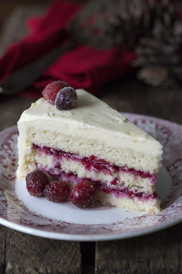 Creamy sugar-free white chocolate frosting and tangy cranberry sauce make this stunning low carb cake a perfect holiday dessert.