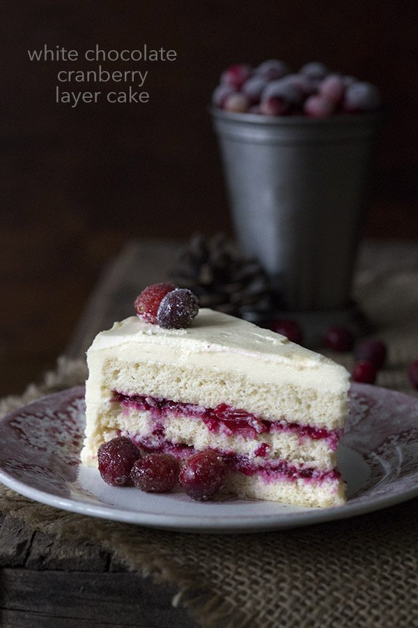 Low Carb White Chocolate Cranberry Layer Cake Recipe.