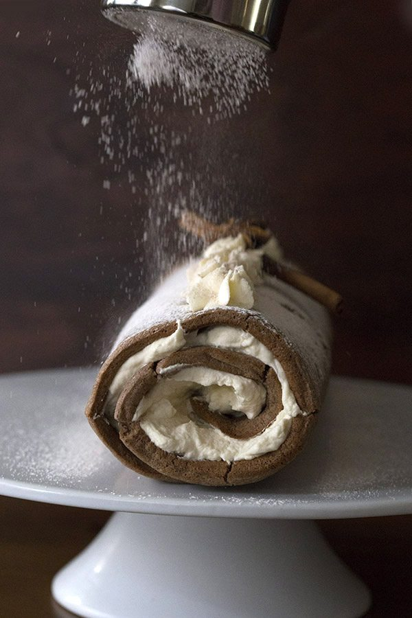 Low Carb Grain-Free Gingerbread Cake Roll. A perfect Keto LCHF holiday dessert!