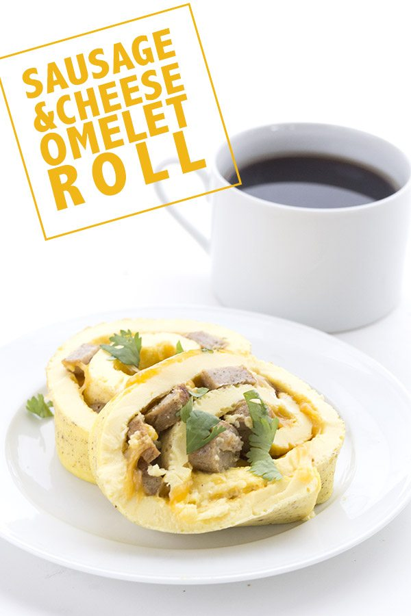 Low Carb Keto Sausage Cheese Omelet Roll.