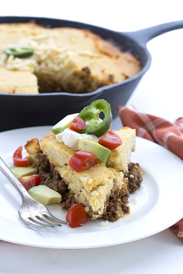 Your whole family will love this low carb tamale pie. Spiced ground meat with a cornbread like topping.