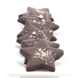 Low carb and egg-free chocolate peppermint stars.