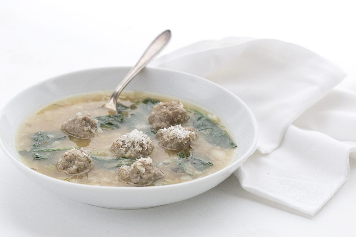Warm up with this healthy low carb Italian Wedding Soup.