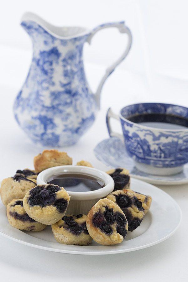 Keto Blueberry Pancake Bites. LCHF THM Grain-Free