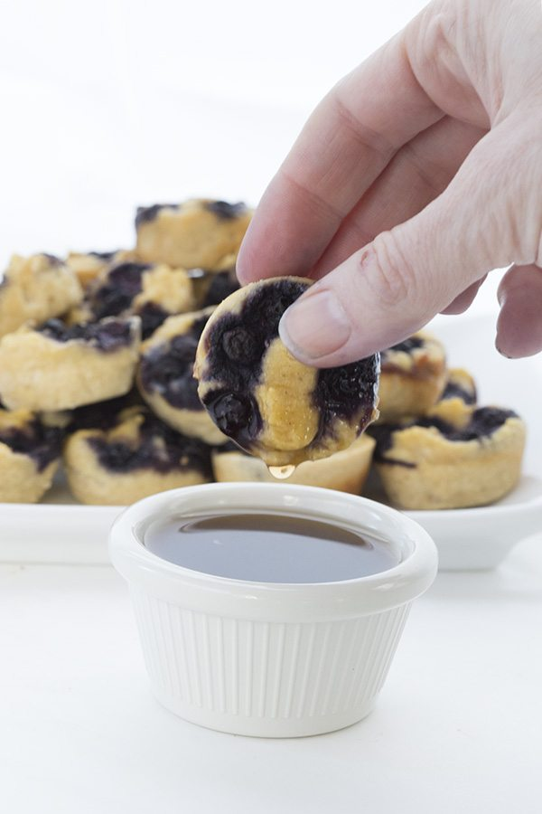 Dip these fun low carb, grain-free pancake bites into your favourite sugar-free syrup!