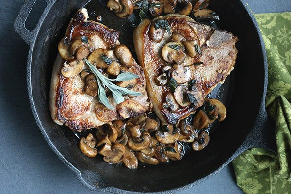 Low Carb Pork Chops with Mushrooms and Sage