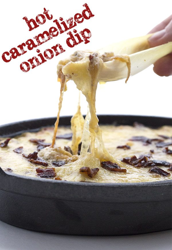 Cheesy gooey low carb hot caramelized onion dip.