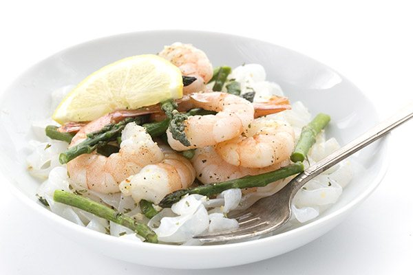 Healthy keto springtime meal. Sheet Pan Lemon Pepper Shrimp and Asparagus.