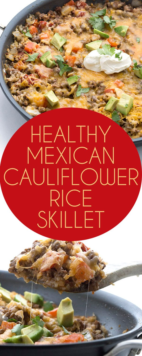 Super easy one pan low carb dinner recipe. Your whole family will love this low carb Mexican Cauliflower Skillet!