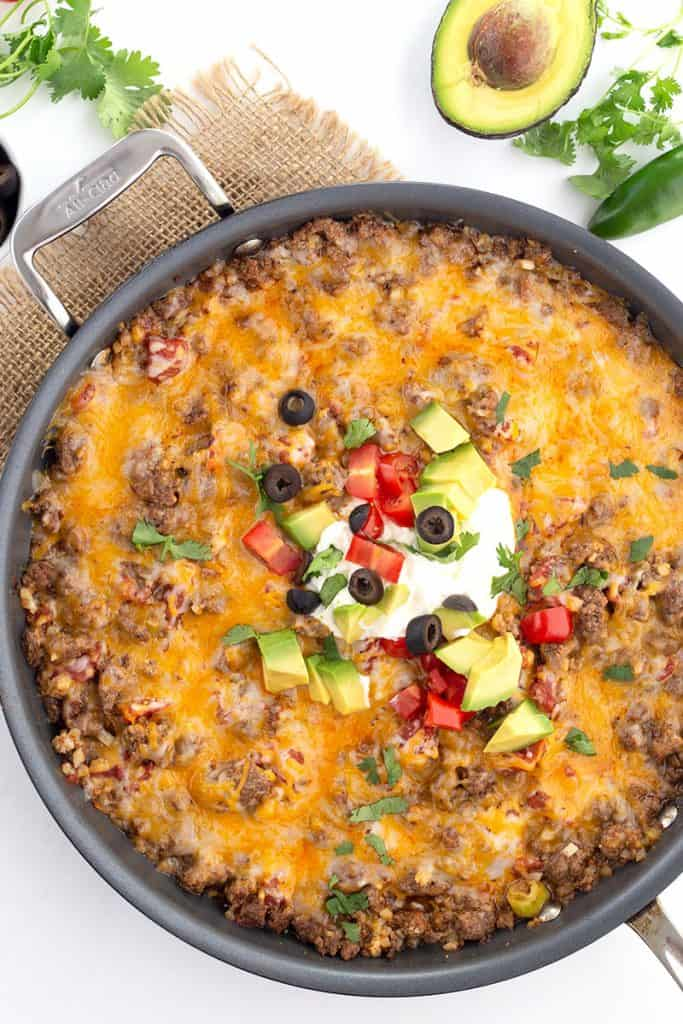 Top down image of keto Mexican cauliflower rice in the pan.