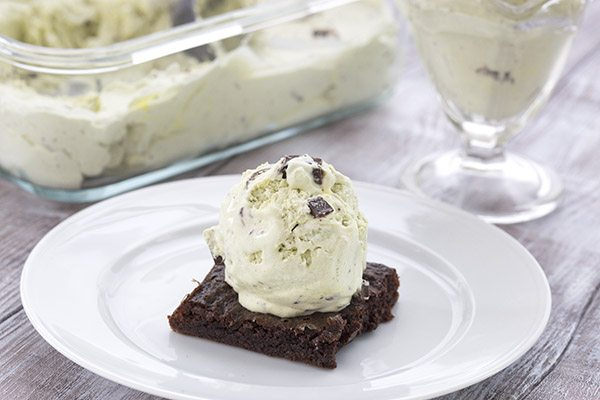 Easy no churn Mint Chocolate Chip Ice Cream. Low carb recipe!