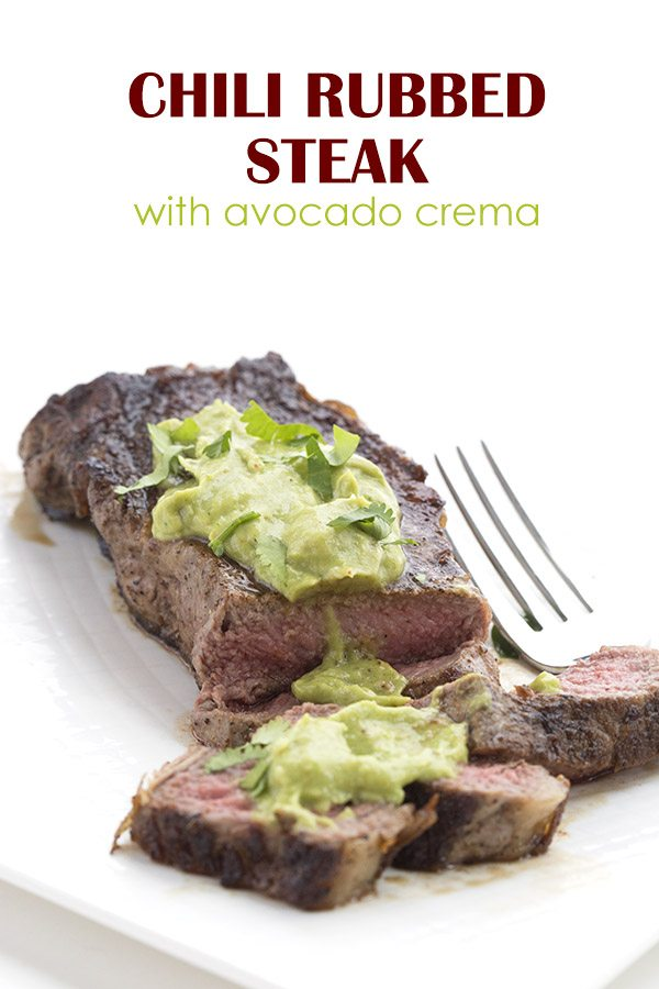 Deliciously keto! This pan-seared chili rubbed steak with avocado sauce is a perfect low carb meal.