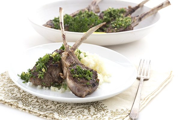 Delicious pan-seared lamb chops topped with a simple gremolata. LCHF Keto recipe.